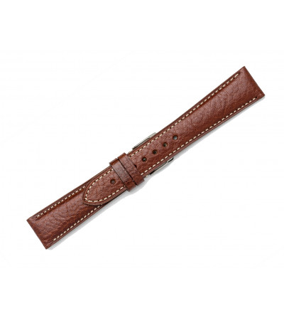 Classic leather strap with contrast stitching